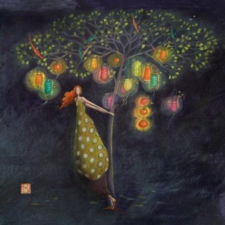 Carte Gaëlle Boissonnard - L'arbre aux lampions - 14x14 cm