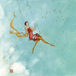 Carte Gaëlle Boissonnard - La fille et la balançoire - 14x14 cm