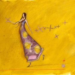 Carte Gaëlle Boissonnard - La fille et la liane de fleurs - 14x14 cm