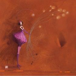 Carte Gaëlle Boissonnard - La fille et le bouquet lumière - 14x14 cm