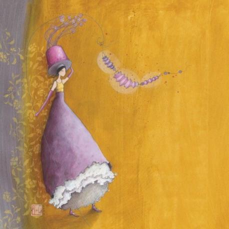 Carte Gaëlle Boissonnard - Le chapeau aux fleurs - 14x14 cm
