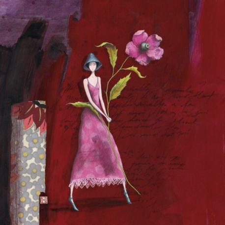 Carte Gaëlle Boissonnard - Le chapeau bleu et la grande fleur - 14x14 cm