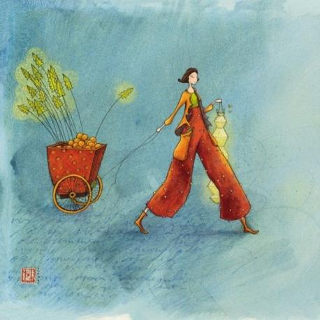 Carte Gaëlle Boissonnard - Le chariot de Noël - 14x14 cm