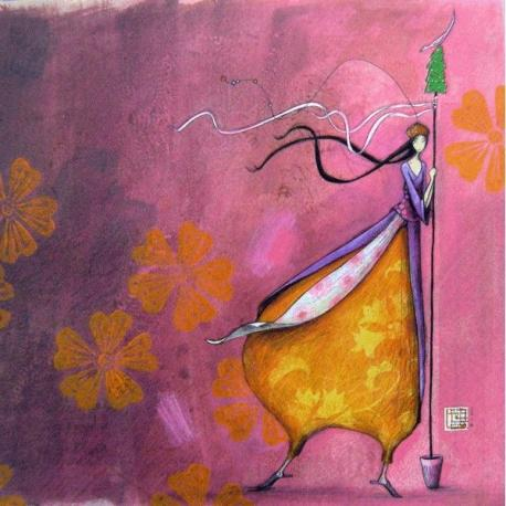 """Carte Gaëlle Boissonnard Noël """"Le sceptre Noël"""" 16x16 cm"""