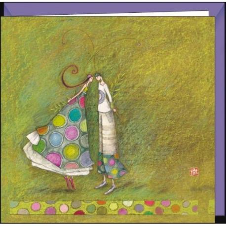 """Carte Gaëlle Boissonnard """"Amoureux aux rameaux d'olivier"""" 16x16 cm"""