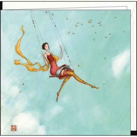 """Carte Gaëlle Boissonnard """"La balançoire"""" 16x16 cm"""