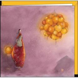 """Carte Gaëlle Boissonnard """"La boule de lampions"""" 16x16 cm"""