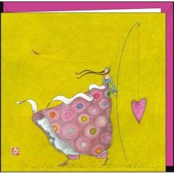 Carte Gaëlle Boissonnard - La canne à pêche au coeur - 16x16 cm