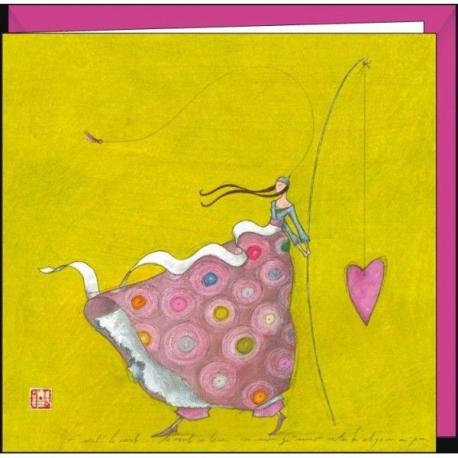 """Carte Gaëlle Boissonnard """"La canne à pêche au coeur"""" 16x16 cm"""
