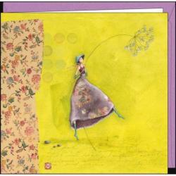 """Carte Gaëlle Boissonnard """"La dame au chapeau bleu"""" 16x16 cm"""