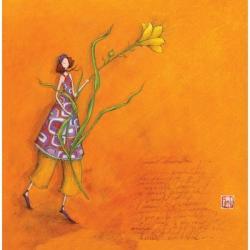 Carte Gaëlle Boissonnard - La femme à la fleur jaune - 16x16 cm