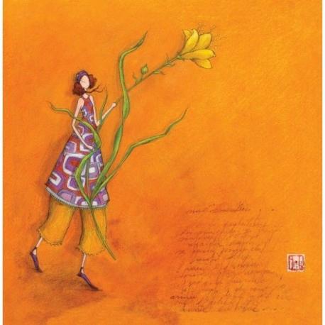"""Carte Gaëlle Boissonnard """"La femme à la fleur jaune"""" 16x16 cm"""