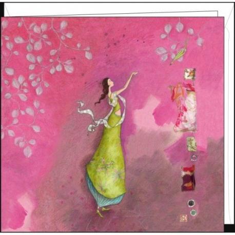 """Carte Gaëlle Boissonnard """"La femme et l'oiseau"""" 16x16 cm"""
