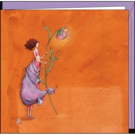 """Carte Gaëlle Boissonnard """"La pivoine et les papillons"""" 16x16 cm"""