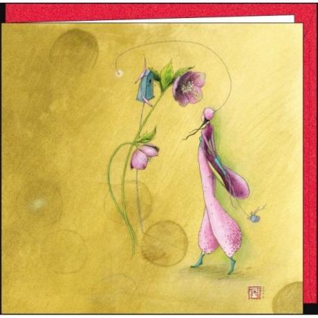 """Carte Gaëlle Boissonnard """"La rose et la fille"""" 16x16 cm"""