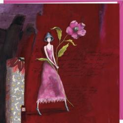 """Carte Gaëlle Boissonnard """"Le chapeau bleu"""" 16x16 cm"""