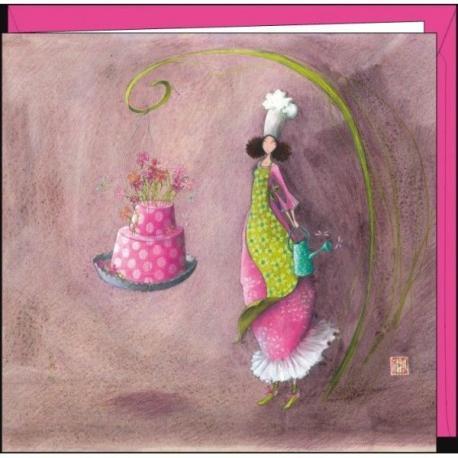 """Carte Gaëlle Boissonnard """"Le gâteau aux fleurs"""" 16x16 cm"""