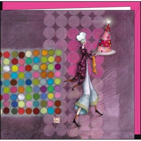 """Carte Gaëlle Boissonnard """"Le gâteau scintillant"""" 16x16 cm"""