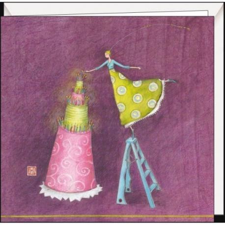 "Carte Gaëlle Boissonnard ""Le grand gâteau"" 16x16 cm"