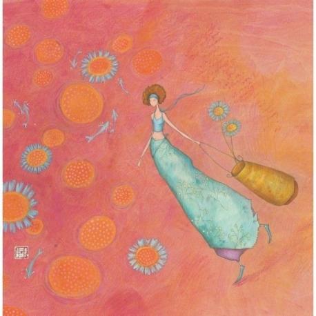 """Carte Gaëlle Boissonnard """"Les fleurs bleues"""" 16x16 cm"""