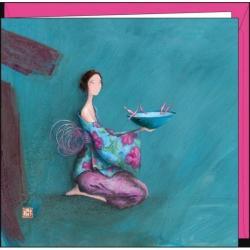 """Carte Gaëlle Boissonnard """"Les oiseaux buvant dans le chapeau"""" 16x16 cm"""