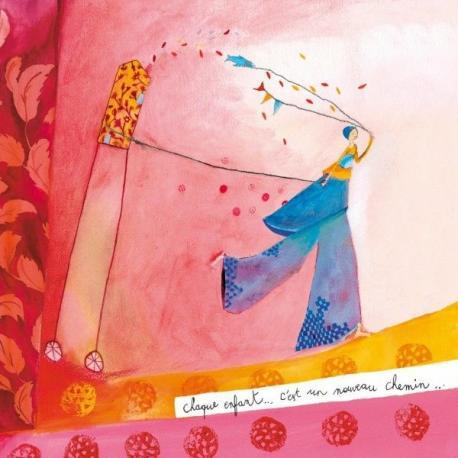 """Carte Anne-Sophie Rutsaert """"Chaque enfant c'est un nouveau chemin..."""" 14x14 cm"""