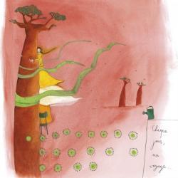 """Carte Anne-Sophie Rutsaert """"Chaque jour, un voyage…"""" 14x14 cm"""