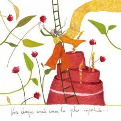 """Carte Anne-Sophie Rutsaert """"Vivre chaque année comme la plus importante..."""" 14x14 cm"""