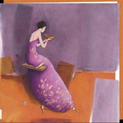 """Carte Gaëlle Boissonnard """"La balancoire et le thé"""" 16x16 cm"""