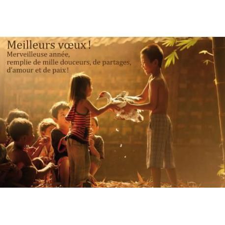 """Carte de Voeux citation """"Meilleurs Voeux! Merveilleuse année..."""" - 12x17 cm"""