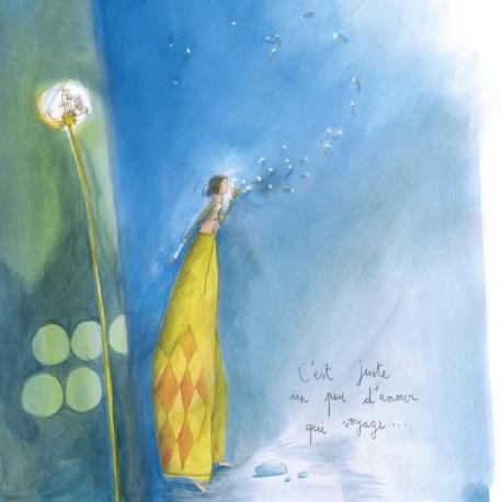 """Carte Anne-Sophie Rutsaert """"C'est juste un peu d'amour qui voyage..."""" 14x14 cm"""