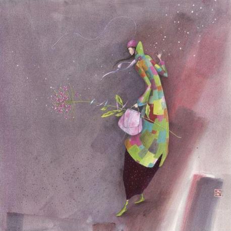 Carte Gaëlle Boissonnard - Fleurs d'hiver - 14x14 cm