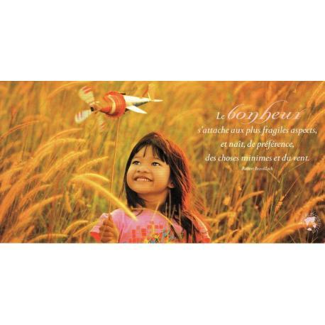 Carte citation Robert Brasillach - Le Bonheur - Photo Rarindra Prakarsa 11x21 cm