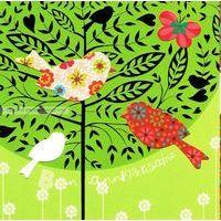 Carte Deco et Découpe - Bon anniversaire chants d'oiseaux - DD08 - 14.5x14.5 cm