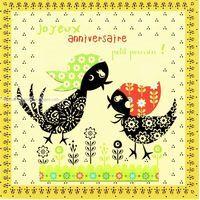 Carte Deco et Découpe - Joyeux anniversaire petit poussin - DD23 - 14.5x14.5 cm