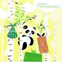 Carte Deco et Découpe - Joyeux anniversaire le Panda - DD27 - 14.5x14.5 cm