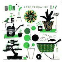 Carte Deco et Découpe - Bon anniversaire le jardin - DD43 - 14.5x14.5 cm