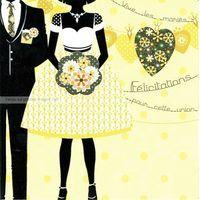Carte Deco et Découpe - Vive les mariés - DD45 - 14.5x14.5 cm