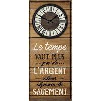 Horloge citation bois - Le temps vaut plus...que de l'argent...alors dépense-le... - 70x30 cm