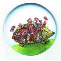 Magnet rond de Christine Donnier ( Titi Pinson ) - Le hérisson fleuri - diamètre: 56 mm