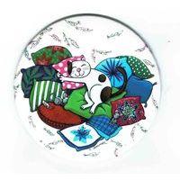 Magnet rond de Christine Donnier ( Titi Pinson ) - La sieste - diamètre: 88 mm