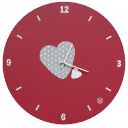 """Horloge Sophie Janière """"Motif cœur"""" couleur rouge"""