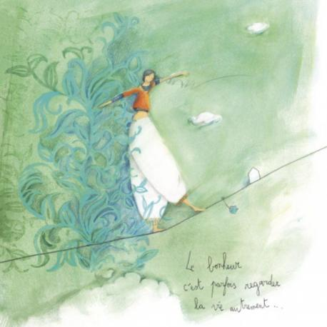 """Carte Anne-Sophie Rutsaert """"Le bonheur c'est parfois regarder la vie autrement..."""" 14x14 cm"""