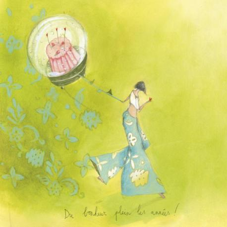"""Carte Anne-Sophie Rutsaert """"Du bonheur plein les années !"""" 14x14 cm"""