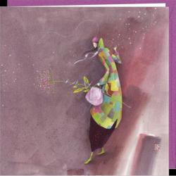 """Carte Gaëlle Boissonnard """"Le manteau multicolore"""" 16x16 cm"""