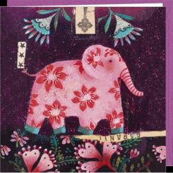 Carte Izou - Eléphant rose - 16x16 cm