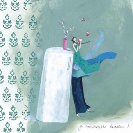 "Carte Anne-Sophie Rutsaert ""Je commence demain !"" 14x14 cm"