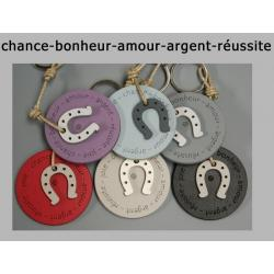 """Porte clés anneau Sophie Janière """"Chance Bonheur Réussite Amour"""""""