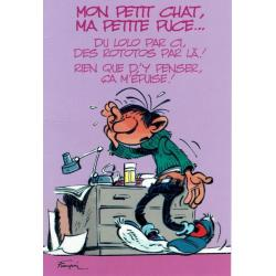 "Carte Gaston Lagaffe ""Mon petit chat, ma petite puce …"" - 12x17 cm"