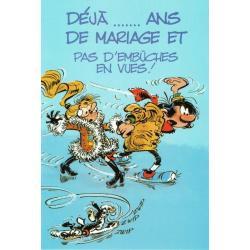 """Carte Gaston Lagaffe """"Déjà ...ans de mariage et…"""" - 12x17 cm"""
